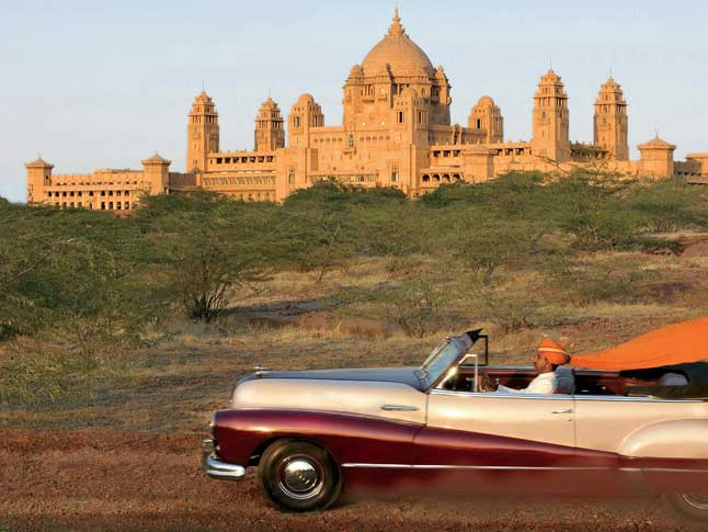 Arriving by vintage car to the Umaid Bhawan Palace in Jodhpur, Rajasthan