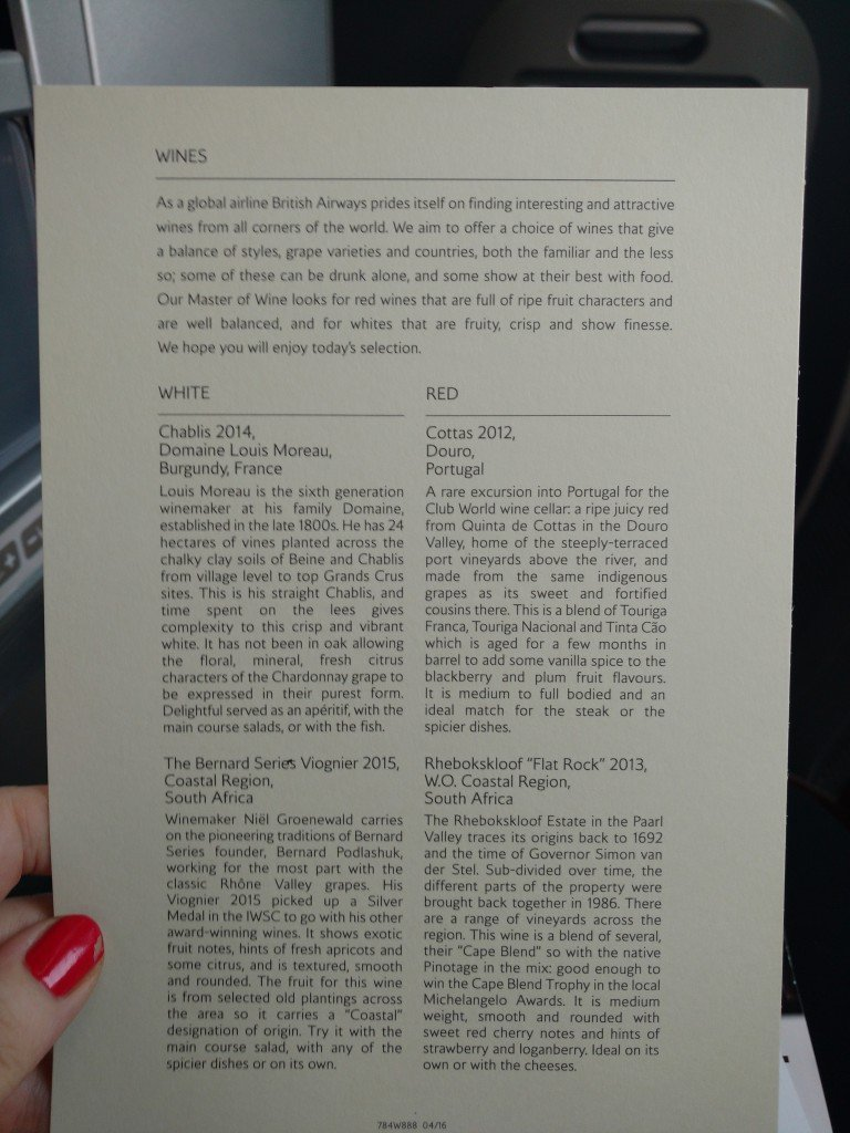 Wine list British Airways club world
