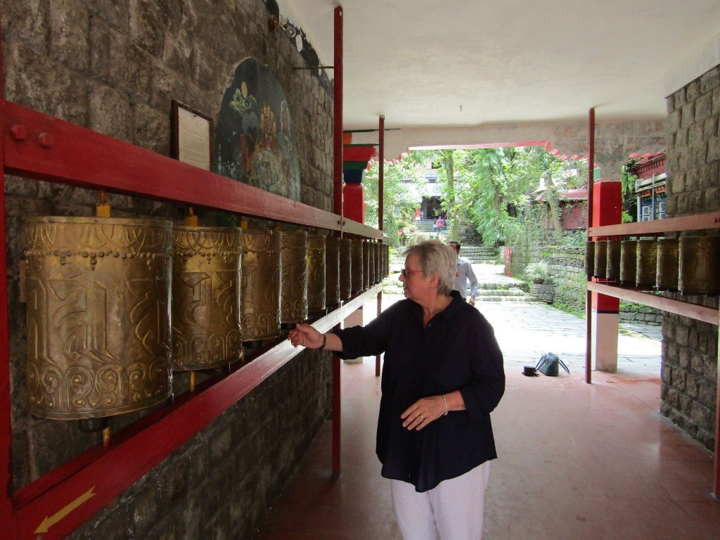 Prayer wheels at the Tsuglagkhang Temple