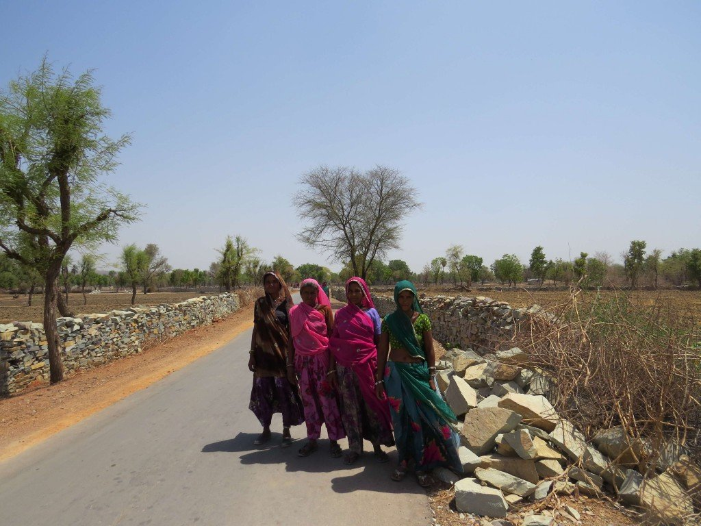 Ladies dressed in the colourful local dress in a village near Castle Bijaipur, Rajasthan