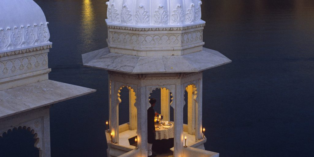 Private dining Taj Lake Palace luxury hotel in Udaipur
