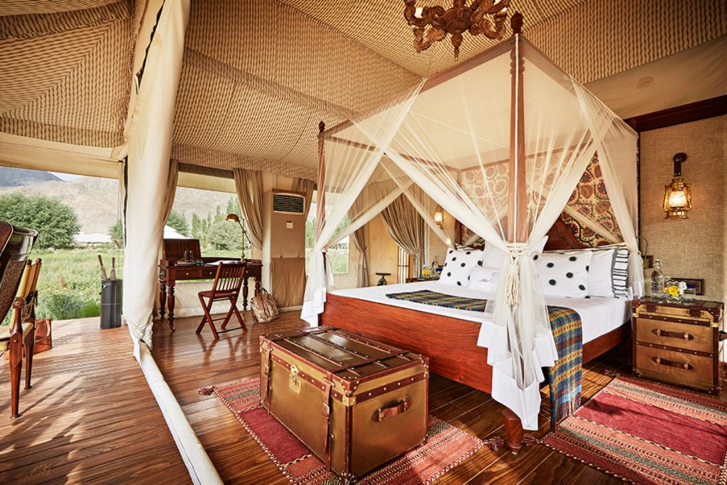 Inside luxury tent at The Ultimate Travelling Camp Ladakh