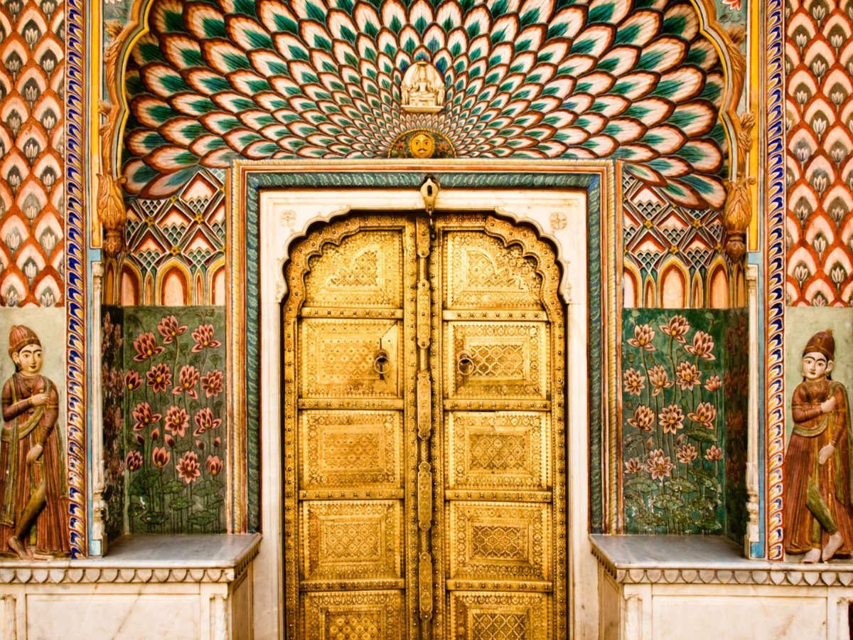 An example of royal Rajasthan at the golden gate in Jaipur's City Palace.